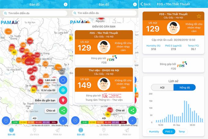 Nếu muốn đo ô nhiễm không khí bạn có thể tải appPAM Air nhé